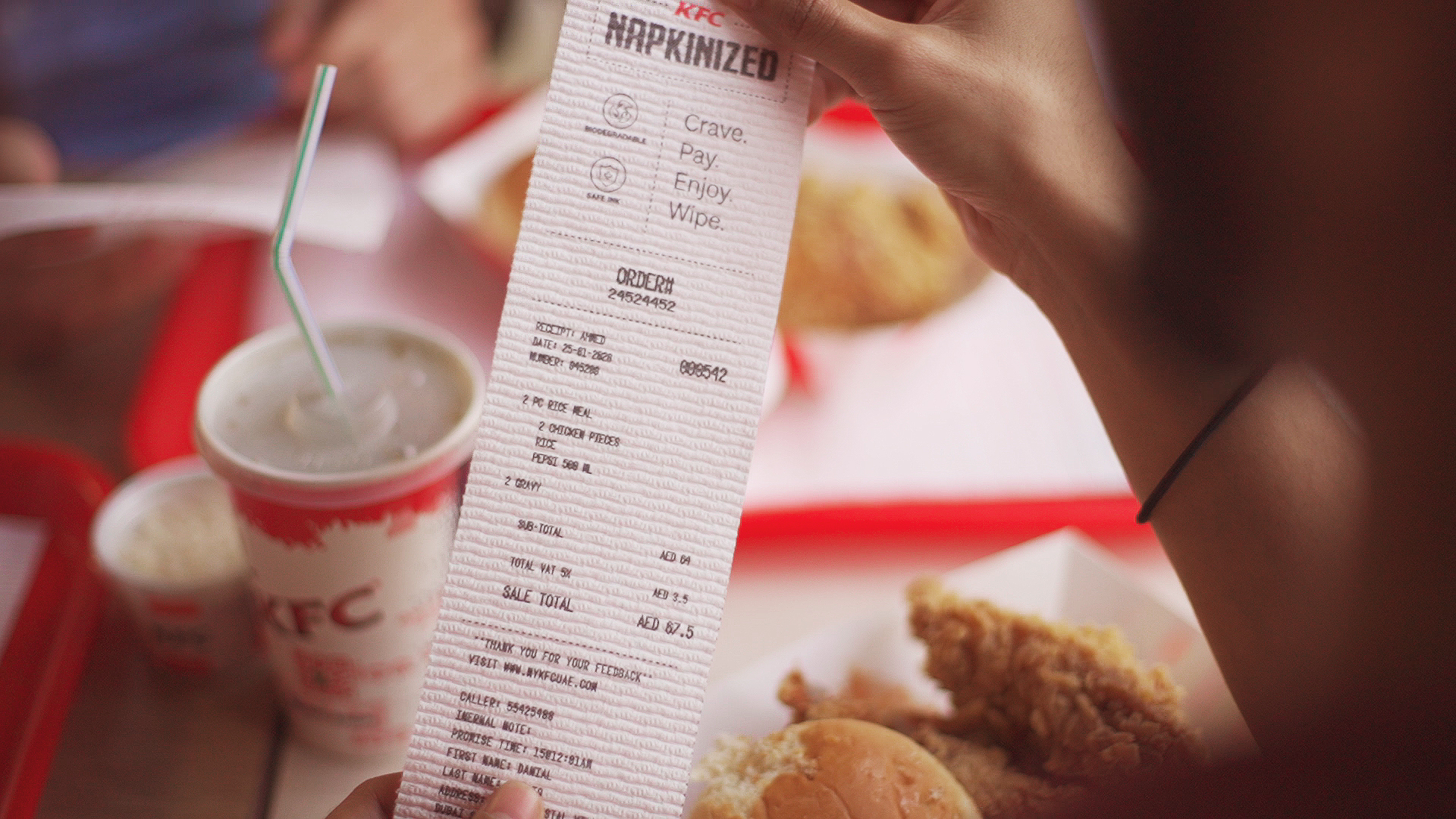 KFC turned its receipts and menus into napkins so customers can eat with their hands more easily